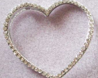Silver Clear Crystal Rhinestone Heart Connector Charm Pendant 45mm 850