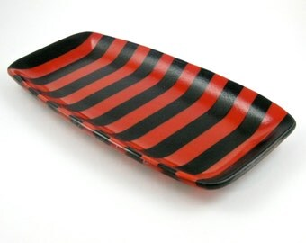 Black and Red Striped Fused Glass Dish - Glass Serving Plate