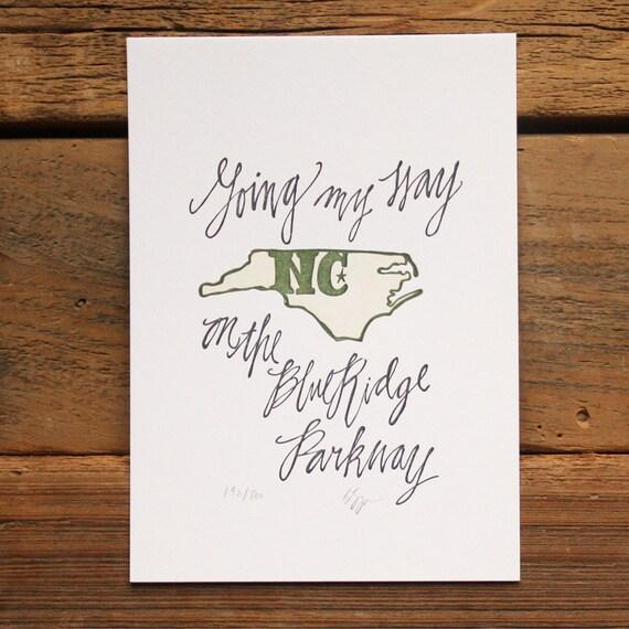 North Carolina Letterpress State Print