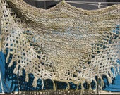 Knitted shawl from handspun pale green merino wool with macrame ties ooak