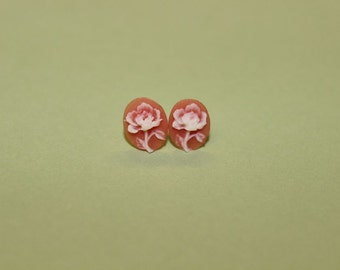 Tiny Pink Flower Cameo Earrings