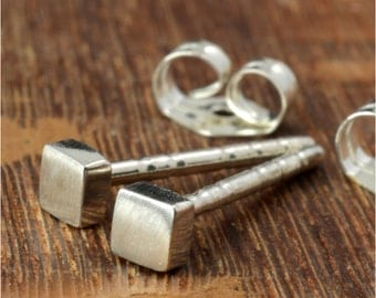 2.5 mm Square Geometric Sterling Silver Post Earrings