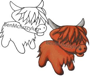 Digital Stamp.(Digi stamp)  Highland Cow stamp. Cardmaking. Craft Supplies, Instant download. Heeland Coo art. Fuzzylug Stamp
