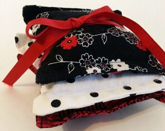 Dried Organic Rose Sachet Red Black and White Set of 3 Polka Dot Dresser Modern Floral Gifts for Her Clearance Sale