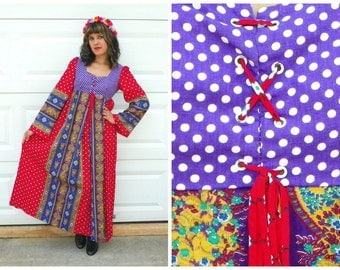 1960s Style Vintage Medieval Festival Dress Circus Gypsy Festival Tent Maxi Dress Purple and Red Empire Waist Corset Lace Up Size Medium