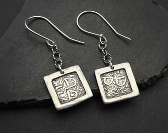 Earrings, silver, small, dangle, On a Wire - Framed Square Sterling Silver Earrings