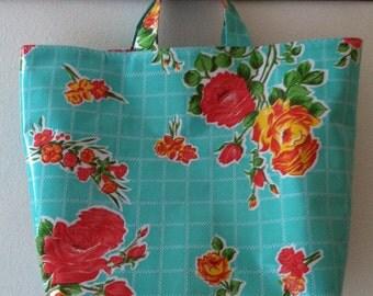 Beth's Aqua Vintage Rose Grocery Oilcloth Market Tote Bag