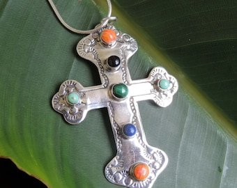 Vintage  Lrg Sterling Cross with Natural Stones Pendant and Chain Estate