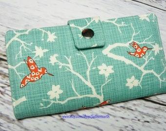Handmade Long Wallet  BiFold Clutch- Vegan Wallet - Bluebird park Orange Humming Birds