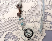 Wire Wrapped Vintage Key Necklace with Clock Pendant and Blue and Crystal Metal Lined Glass Beads, On Blue Velvet Ribbon