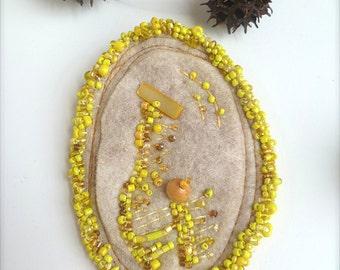 Fiber art pin, YELLOW II, marked down 50%, bead embroidery on felt, felt brooch, statement, romantic, wearable art