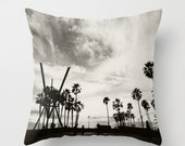 decorative pillow case, throw pillow, Venice Beach photo pillow, black white gray California home decor, LA 18x18 cushion cover, Los Angeles