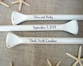 """58"""" Personalized Painted Paddles (3) for Nautical Wedding Guest Book Alternative Bride and Groom Names, Wedding Date & Location Hand Painted"""
