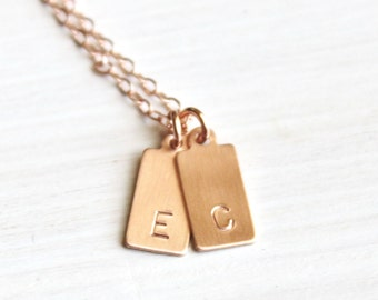 Mini Tag Initial Necklace, Personalized Necklace, 1, 2, or 3 Initial Necklace, Silver, Gold or Rose Gold Delicate Necklace Layering Necklace