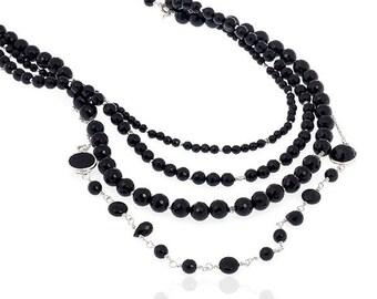 Onyx Stone Multi Layer Necklace