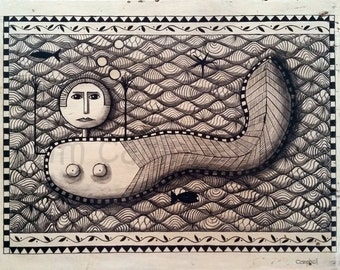 Scrimshaw Mermaid Giclee Print by Tim Campbell
