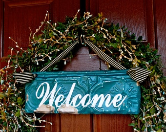 Welcome Sign made with Antique Ceiling Tin Tile / Wreath Decor / Architectural Salvage