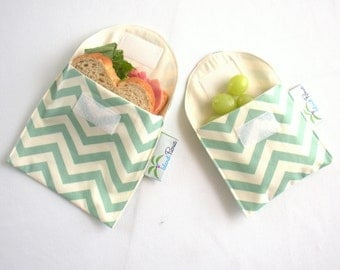Sea Green Chevron Sandwich and Snack Bags, Reusable, Organic Cotton, Eco Friendly - Set of 2 - Back to School