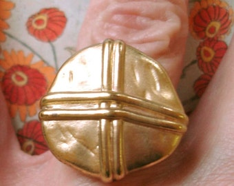 nautical gold vintage button cocktail ring