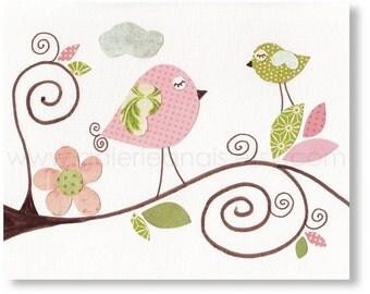 Birds pink green nursery art - nursery decor - baby nursery print - kids art - kids room decor - Birds - Les Oiseaux print