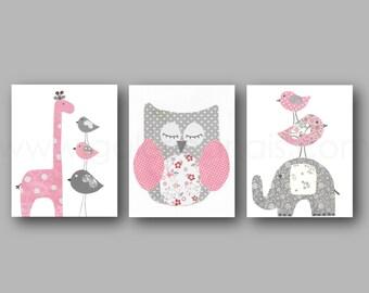 Gray and Pink Nursery art giraffe Nursery Decor elephant Birds Owl Nursery children wall art - personalized Set of three prints