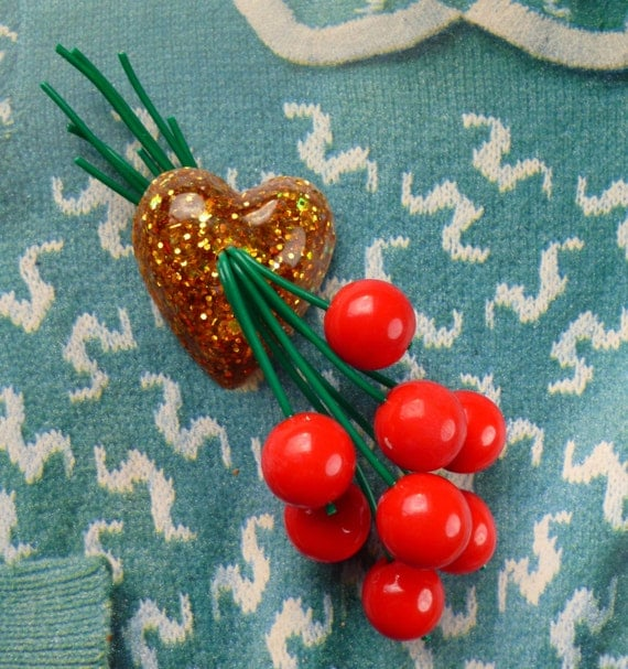 Heart of gold confetti lucite style handmade cherry brooch 40s 50s