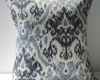 New 18x18 inch Designer Handmade Pillow Cases in blue, warm white woven ikat pattern
