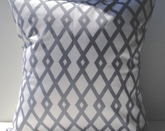 New 18x18 inch Designer Handmade Pillow Cases in grey and white trellis style pattern