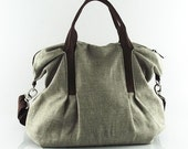 Sale - Natural Color Linen Tote, purse, shoulder bag, ruffles, messenger, pleats, durable - Michelle
