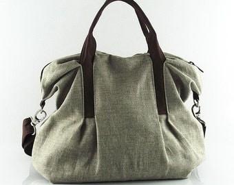 Sale - Natural Color Linen Tote, purse, shoulder bag, ruffles, messenger, pleats, durable - Michelle