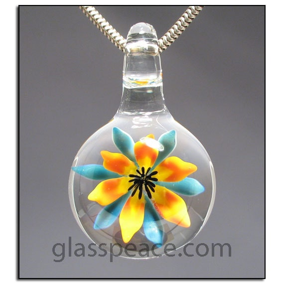 Glass Flower Pendant lampwork necklace focal bead - Glass Peace glass jewelry (6113)