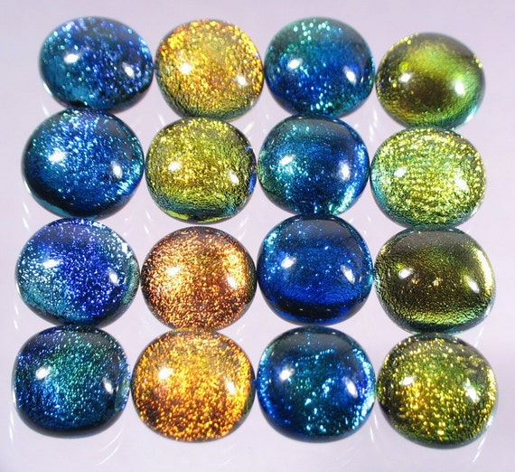 Jewelry Supplies Glass Cabochons dichroic fused cabs - WHOLESALE - handmade by Glass Peace (2952)