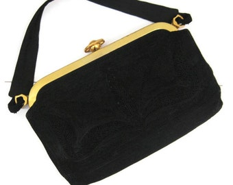 40s Purse Vintage Black Corde Cord Coronet Handbag