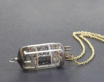 Steampunk Necklace Jewelry- Upcycled Brass Industrial Vacuum Tube Necklace, Radio Tube Necklace, Steampunk Jewelry