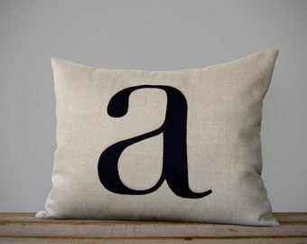 Personalized Initial Pillow | 14x18 | Modern Home Decor by JillianReneDecor | Typography Pillow | Lower Case Letter | Navy | Monogramed Gift