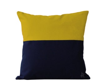 OUTDOOR Colorblock Pillow Cover - Yellow and Navy by JillianReneDecor Modern Home Decor - Two Tone - Summer Patio Decor