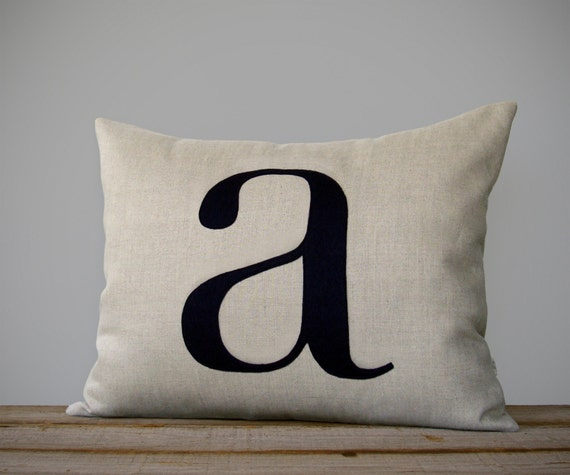 Initial Home Decor: Personalized Initial Pillow 14x18 Modern Home Decor By