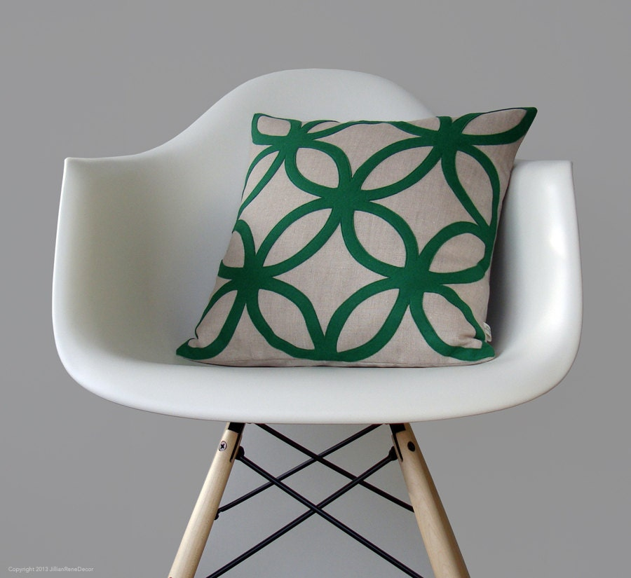 Geometric Kelly Green DECORATIVE PILLOW COVER Mod Home Decor