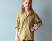 olive green utility top/ silk button up shirt/ 1990s/ xs - small