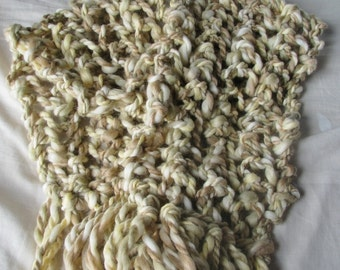 WINTER OFFER - Creme Caramel Hand Knitted Long Soft Warm Wraparound Scarf