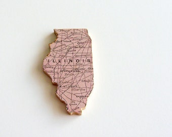 Illinois Brooch - Lapel Pin / Upcycled Antique 1907 Rand McNally Wood Piece / Unique Wearable History Gift Idea / Timeless Gift Under 50