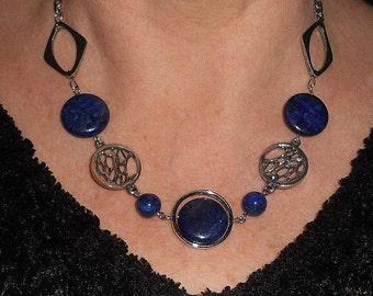 Statement necklace, lapis necklace, boho chic jewelry, blue stone necklace, lapis jewelry, gemstone necklace, unique necklaces for women