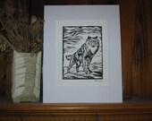 Arctic Wolf Linocut Hand-Pulled Print on Stonehenge Printmaking Paper