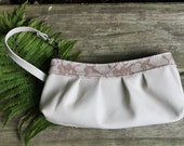 Leather Wristlet in Cream with Taupe Lace trim- Leather clutch- Off white leather purse- Ladies leather wristlet - womens leather clutch -