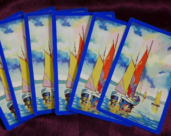 Vintage Sailboat Yacht Playing Cards