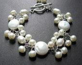 Pearl Statement Bracelet, Pearl Bracelet, Wedding Jewelry, Wire Wrapped Bracelet