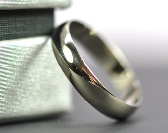 White Gold Ring, 14K Palladium White Gold 4x1mm Half Round Ring, Recycled Gold Wedding Band, Sea Babe Jewelry