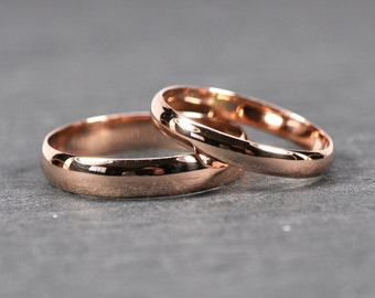 Rose Gold Wedding Band Set, Solid 14K Rose Gold Rings, Half Round Classic Style, Customizable, 3mm and 4mm Wide, Sea Babe Jewelry