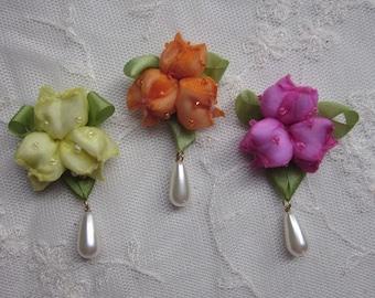 3pc Glass Seed Bead Beaded Fuchsia Yellow Orange Ribbon Rose Bud Berry Flower Applique Trim Baby Doll Hair Bow w pearl drop