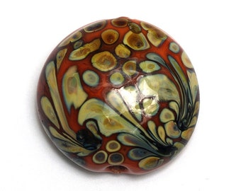Coral w/Beige Lentil Focal Bead - Silver - Handmade Glass Lampwork Bead 11811702